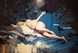 台灣藝術家梁君午西洋油畫作品:藍色的合奏