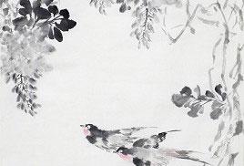 朱宗明中國水墨畫作品《紫氣雙福》