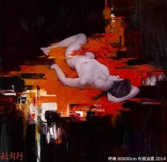 《呼喚》台灣藝術家梁君午西洋人物油畫作品
