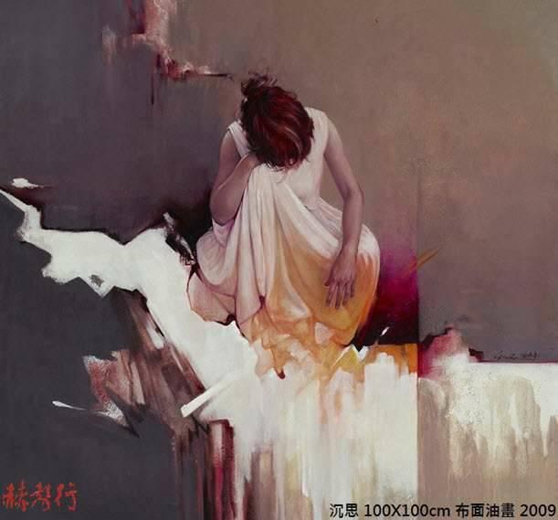 《沉思》台灣藝術家梁君午西洋人物油畫作品