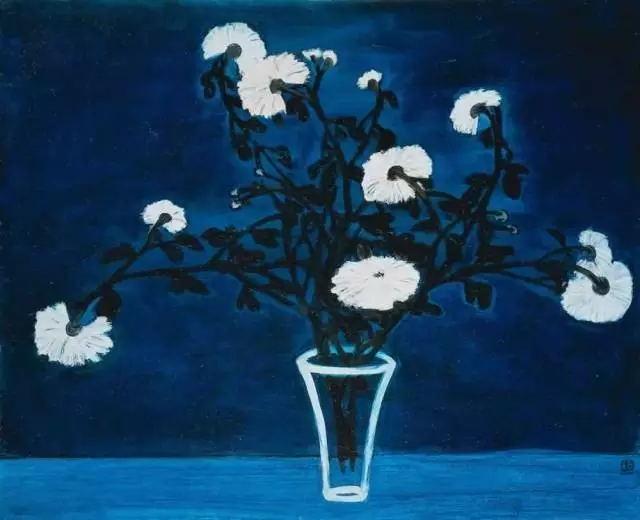 常玉作品6《菊花與玻璃瓶》