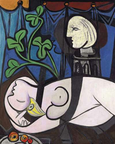 28畢卡索「裸體、綠葉和半身像」
