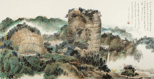 董晴野山水畫作品《靈岩寺水雲圖》