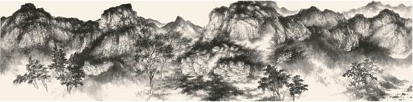 譚鴻斌山水畫作品《山西錫崖溝寫生稿二》