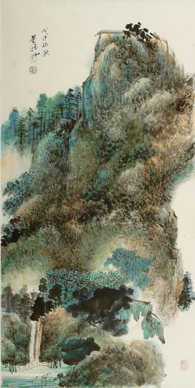 董晴野山水畫作品《秋山圖》