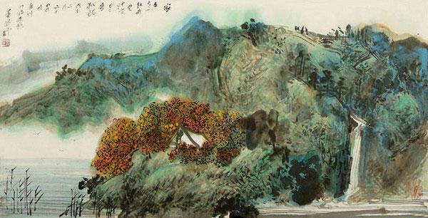 董晴野山水畫《家在青山紅葉裏》139x70cm