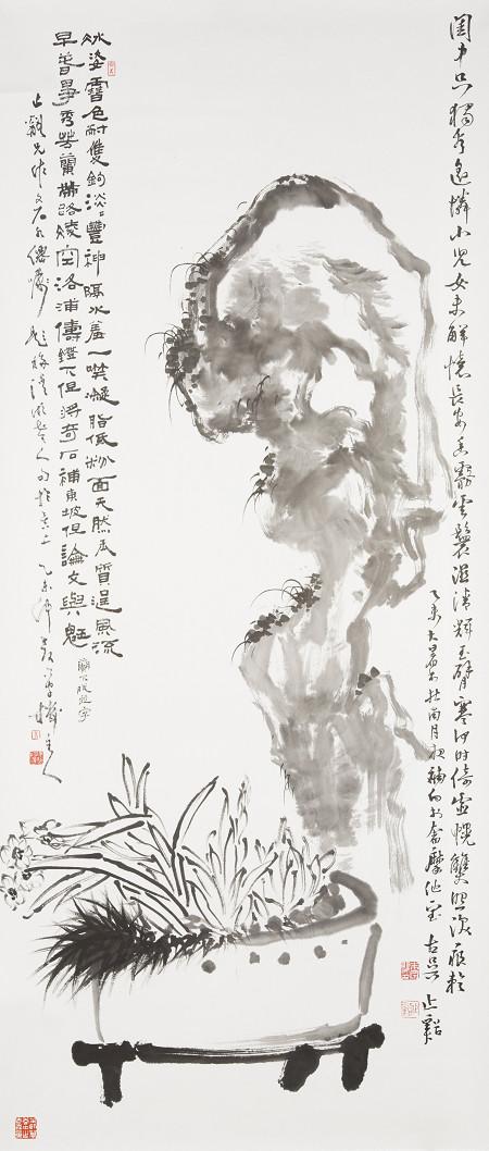 朱宗明水墨畫作品《雙清歲月》