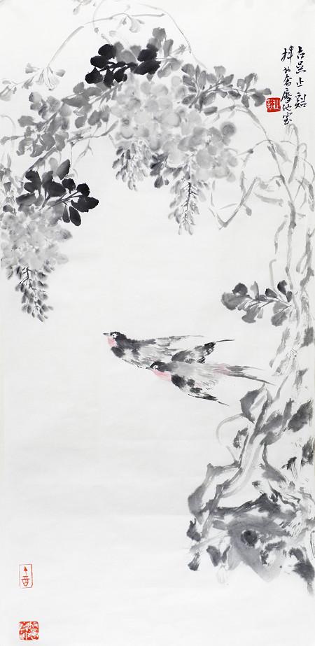 朱宗明國畫作品《紫氣雙福》97×45cm (4平尺)