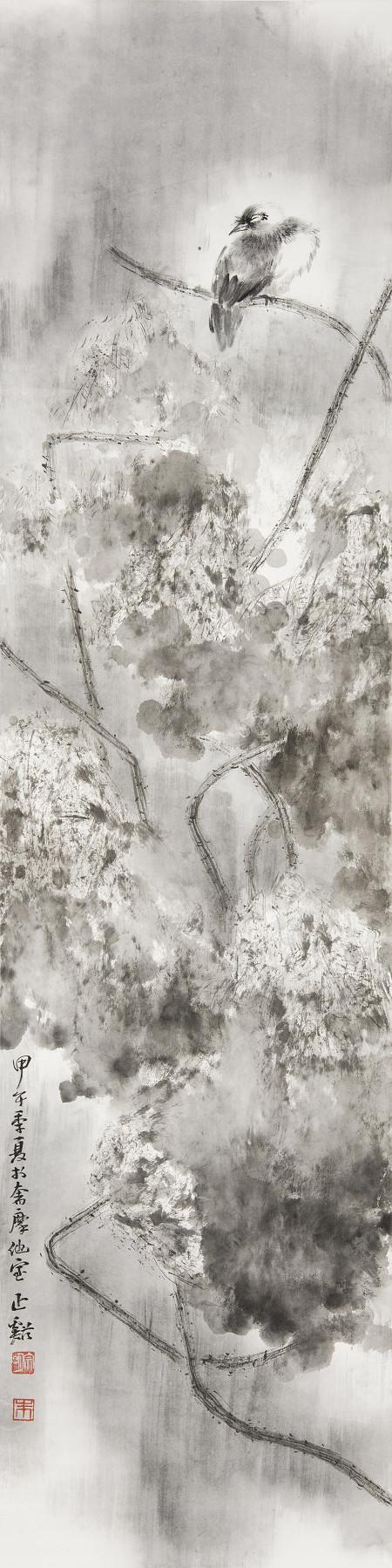朱宗明花鳥畫作品《月塘靜棲》136×34cm (4.1平尺)