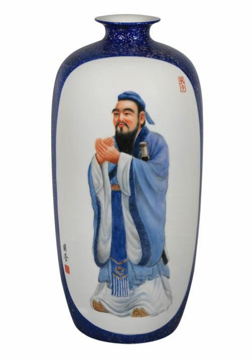 趙趙國學瓷器花瓶作品《孔子》101