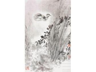 朱宗明水墨畫作品《靜塘佳趣》