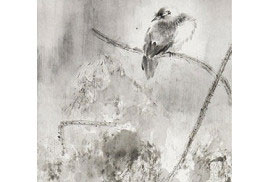朱宗明中國花鳥畫作品《月塘靜棲》