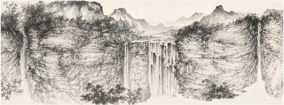 譚鴻斌山水畫作品《山西錫崖溝寫生稿一》