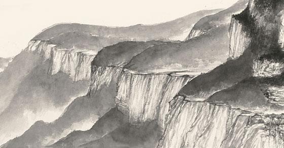 譚鴻斌山水畫作品《山西錫崖溝寫生稿四》