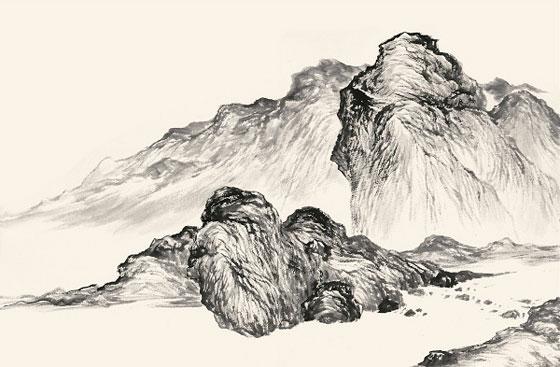 譚鴻斌山水畫作品《線條皴十》