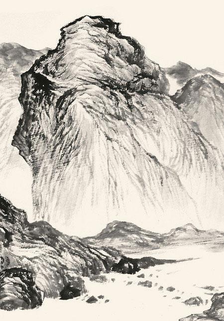 譚鴻斌山水畫作品《線條皴十》2
