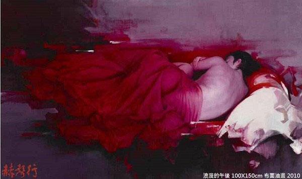 台灣藝術家梁君午油畫作品:浪漫的午後