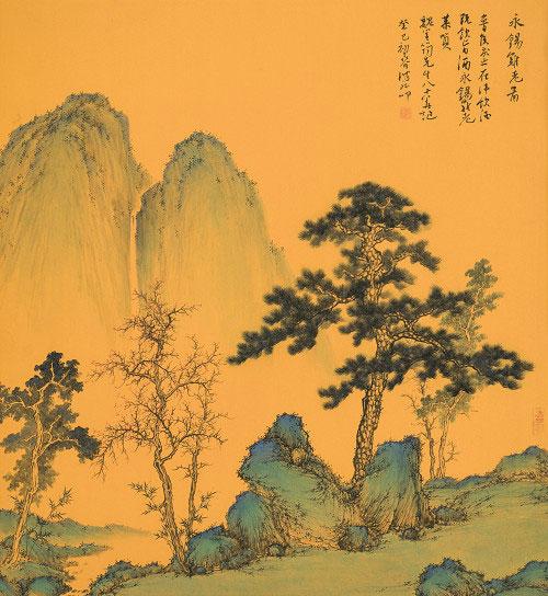 譚鴻斌山水畫作品《永錫難老》