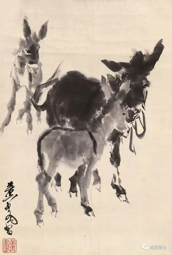2017尚敷爾雅書畫藝術品拍賣會:黄胄《三驢圖》