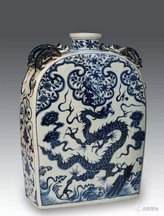 《如意云龍四系扁方瓶》台灣私人收藏藝術品