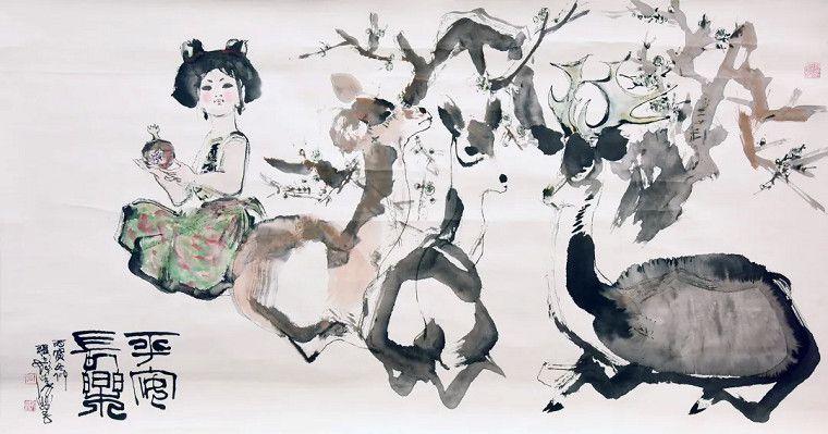 圖一:上海朵雲軒拍賣120週年藏品特展程十發《平安長樂圖》