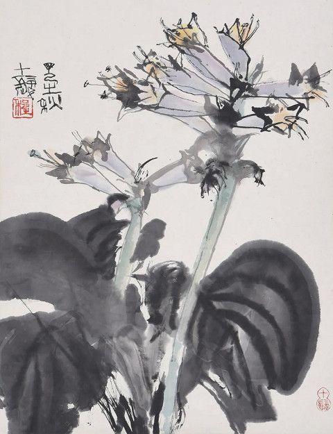 圖五:程十發為朵雲軒木版水印創作的玉簪花