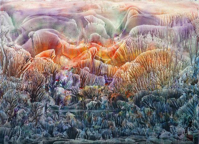 中國大陸畫家劉以通水墨幻象藝術作品2012|103x76cm